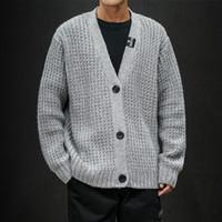 Durchbrochene Pullover Männer Big Button V Kragen Solide Cardigan Mantel Male 2019 New Japanese Style Trendy Kleidung Lässige Herren Strickwaren