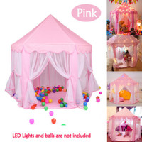 Wholesale kids girls pool for sale - Group buy Children Princess Pink Castle Tents Portable Boys Girls Indoor Outdoor Garden Folding Play Tent Lodge Kids Balls Pool Playhouse