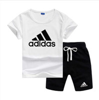 Wholesale children suit short resale online - Brand Logo Luxury Designer Kids Clothing Sets Summer Baby Clothes Print for Boys Outfits Toddler Fashion T shirt Shorts Children Suits