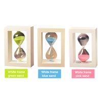 reloj de arena vintage al por mayor-10 minutos Marco de madera Reloj de arena Reloj de arena de cristal de la vendimia Temporizador de arena Reloj de cuenta regresiva Reloj de mesa en casa Decoración de regalo para los niños