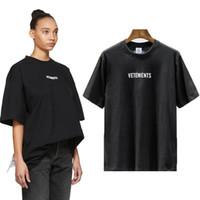 waschen t shirts großhandel-2019 Sommer-Luxus Vetements kleines Logo einzigartigen Qualitäts-T-Shirt Mode Männer Frauen Side Big Washing Aufkleber Shirt Lässige Cotton Tee Top
