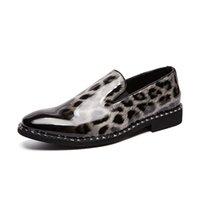 mocassins léopard hommes achat en gros de-Hommes Chaussures Habillées Léopard En Cuir Verni Chaussures Hommes Nouveaux Oxfords pour Hommes Chaussures Formelles Mocassins De Bureau Casual Party Bal Appartements