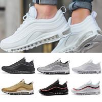 zapatos deportivos dorados al por mayor-With box Nike Air Max 97 airmax más nuevos zapatillas para hombres mujeres, blanco negro rosa zapatillas de oro Triple  zapatos deportivos