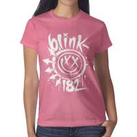 дизайн панк-майка оптовых-Blink 182 Punk rock Funny face Ink розовые женские футболки, майки, майки, футболки дизайнерские футболки дизайнер на заказ классическая футболка