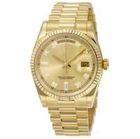 days оптовых-Высокое качество оптом часы DAY DATE механическое скольжение гладкие 40 мм мужские королевские дубы часы из нержавеющей стали ободок ремешок наручные часы