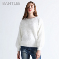 Wholesale angora pullover sweater for sale - Group buy BAHTLEE Autumn winter women s angora rabbit knitted pullovers sweater O NECK lantern sleeve mink cashmere thick keep warm T191230