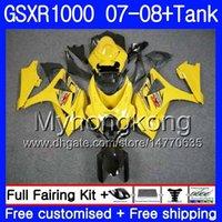 tanques suzuki al por mayor-Kit + Tanque para SUZUKI GSX R1000 GSXR-1000 GSXR 1000 2007 2008 301HM.51 GSX-R1000 07 08 Cuerpo K7 GSXR1000 07 08 Carenado caliente amarillo claro 7Gifts