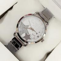 relógio de aço estrela venda por atacado-2018 novo estilo de moda mulheres relógio com mostrador estrela lady watch subiu de ouro de diamante pulseira de aço relógio de luxo de alta qualidade relogies para as mulheres