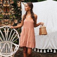 vestido de cuello halter naranja al por mayor-Summer Fashion Nuevo vestido de mujer Orange Sling Activity Correa para el hombro con cuello en V Halter Big Swing Falda suelta