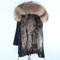 Wholesale green black dog collars resale online - Real Fur Parka Men Winter Jacket Real Raccoon Fur Hooded Coats Nature Raccoon Dog Lining Jacket Man Real Fur Coat T191023