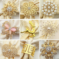 halka peçete toptan satış-9 Styles Pearl Napkin Buckle Alloy Deer Napkin Ring Newest Gold-plated Butterfly Flower Napkin Ring Table Decoration CCA11543 100pcs