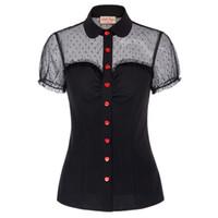 düğme bluzları kısa kollu toptan satış-Vintage Kadınlar Gömlek Kısa Kollu Yaka Yaka Kırmızı Düğmeler Örgü Kumaş Patchwork Bluz Parti Zarif Bayanlar Camisas Mujer Y19062501 Tops