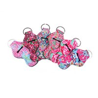 leopar topları toptan satış-Spor Topları Leopar Gökkuşağı Baskılar Neopren Chapstick Tutucu Dudak Balsamı Wrap Keychian Wrap Taşıma çantası ücretsiz kargo