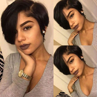 bob kesme dantel perukları toptan satış-Pixie Cut Peruk 13x4 Dantel Ön Kısa Bob Peruk Doğal Brezilyalı Remy İnsan Saç Siyah Kadınlar Için Pixie Peruk