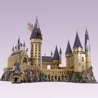 kale seti toptan satış-16060 Film Oyuncakları Serisi 71043 Magic Castle Okul Seti Yapı Taşları Tuğlalar Meclis Evi Modeli Çocuk Yılbaşı Hediyeleri