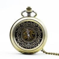 cadenas huecas masculinas al por mayor-Vintage mecánico reloj de bolsillo para hombre clásico elegante hueco esqueleto mano viento Retro masculino reloj colgante FOB cadena relojes