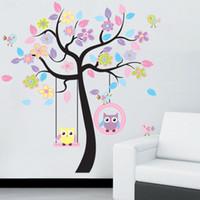 fond d'écran de hibou achat en gros de-Diy Owl Bird Tree Sticker Mural Décor À La Maison Pour Enfants Salon Stickers Enfants Bébé Pépinière Décoratif Papiers Peints Autocollants Q190522