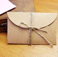 ingrosso marrone invito-2019 Mini Retro Brown Kraft Buste di carta Mini serie Busta di carta Invito a una festa di nozze Carta regalo