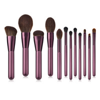 pinceaux de maquillage cheveux violets achat en gros de-Kit de pinceaux de maquillage de luxe professionnel de haute qualité 12pcs pinceaux cosmétiques violet manche en bois avec des cheveux synthétiques