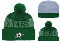 вязаные звезды оптовых-Даллас Старс Хоккей Avalanc knit Шапки с вышивкой Регулируемая шапка Вышитые шапки Snapback Черно-серые белые сшитые шапки Один размер
