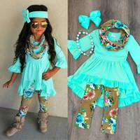 Wholesale dress legging kid resale online - 2019 New Arrival Boutique Toddler Kids Baby Girl Clothes Set Solid Color Top Dress Floral Printed Pants Legging Outfit Clothes