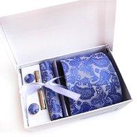 nackenmanschettenknopf großhandel-Geschenkbox Krawattenset für Männer Krawattenklammer Taschentuch Manschettenknöpfe Krawattenset Krawatten Manschettenknopf Mode Business Accessoire