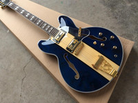 Wholesale blue electric guitars for sale online - Custom high quality hot sale double f hole hollow blue inspired Spalted maple top gold hardware jazz electric guitar
