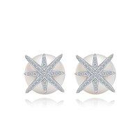 tampões para as mulheres venda por atacado-Branco zircão estrela brincos de pérola plugue de ouvido de luxo designer de jóias finas brincos de casamento para as mulheres menina presente