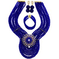 ingrosso cristalli di seta reale blu della collana-Fashion Royal Blue African Beads Jewelry Set Crystal Nigerian Beaded Wedding Necklace Bracciale Orecchini Imposta 8WD04