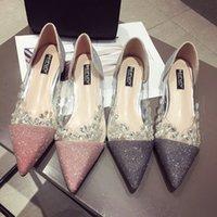 ingrosso designer cristalli di scarpe da sposa-Nuove scarpe da donna di design con sandali a punta di cristallo Sparkle Sequin Scarpe da ginnastica per scarpe da sposa Flatforms 2019