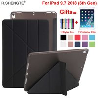 Wholesale ipad stylus china online – For Apple iPad th Generation Case Slim Leather Soft TPU Back Filp Stand Smart Cover for iPad Funda with Stylus Pen Film