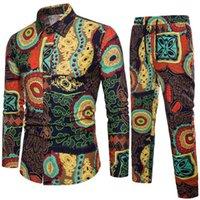 patrones de pantalones de lino al por mayor-2019 nuevos hombres camisa + pantalón largo de algodón y lino moda patrón de la hoja de arce impresión de un solo pecho de gran calidad de gran tamaño fashio