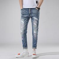 puntos de pintura jeans al por mayor-Blue Stretch Jeans Slim Fit Hombre Lavado Pintado Punto Cremallera Hip Hop Agujero ajustado Pantalones de mezclilla Pantalones rectos destruidos 1 pieza AAA1962