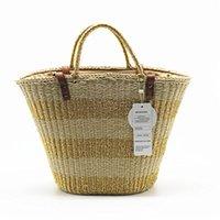 gold silber körbe großhandel-Woven Bag Manuelle Straw Knit Strandtaschen Tasche Eimer Sommer Gold Silber gestreiften Frauen Handtasche geflochten Large Basket