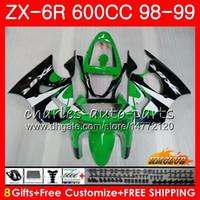 обтекатель zx6r 98 оптовых-Корпус Для KAWASAKI NINJA ZX-6R 6 R ZX-636 ZX600 CC 98-99 Капот 39HC.245 600CC ZX636 ZX6R 98 99 ZX 636 ZX 6R 1998 1999 Обтекатель зеленый сток