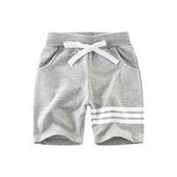 78427a6c528 Niños Casual Pantalones cortos deportivos Ropa de rayas Niños 100% Algodón  Terry Cadena de la cintura Cinco pantalones Gris Azul marino Verano Barato  al por ...