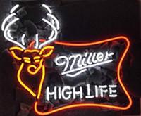 néon, sinal, alto, vida venda por atacado-Entrar Miller High Life Ar Livre fanfarrão dos cervos do veado Neon (VariousSizes) Beer Bar Pub caverna do homem de negócios de vidro Lâmpada Luz
