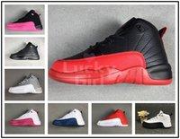 zapatos morados oscuros al por mayor-2019 Nike Air Jordan 12 AJ12 Boys Girls Gym Red Hyper Violet Purple Zapatillas de baloncesto para niños Rosa para niños Blanco Azul Gris oscuro Niños pequeños Regalo de cumpleaños