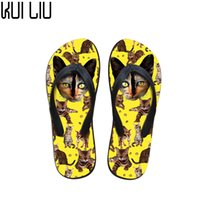 ingrosso pattini piani di stampa animale delle donne-Flip Flops personalizzati Donna Cute Animal Cat Stampe Flats Home Summer Scarpe da donna Pantofole da donna Casual Beach Water Shoes Girls