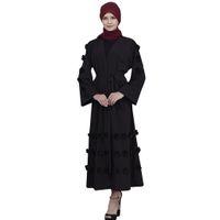 gelber hijab großhandel-Muslim Kleid Frauen Abaya Dubai Weiß Gelb Grün Schwarz Rot Blau Lange Robe Tunika Kimono Jubah Kaftan Hijab Islamische Kleidung # M6Y