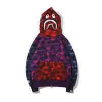 sudadera púrpura al por mayor-Amante Rojo Púrpura Azul Tres colores Costura Camo Sweater Coat Adolescente Personalidad Marea Marca Cardigan Zipper Hoodies