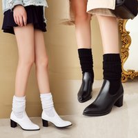 Wholesale knee high boots stockings for sale - Group buy YMECHIC Knitting Knee High Boots White Black Crystal Pointed Toe Block High Heels Woman Shoes Riding Long Knight Stocking Boots