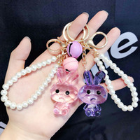 Wholesale girls pearl purses resale online - Cute Colorful Rabbit Keychain for Women Purse Phone Wallet Pearls Key Chain Bag Pendant Decoration Girls Key Ring Jewelry