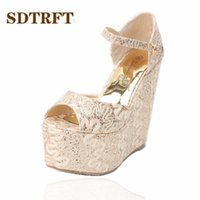 Wholesale small wedges sandals resale online - SDTRFT Stiletto Ladies cm wedges Sandals Sequins Platform shoes woman zapatos mujer wedding Pumps Small Yards