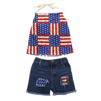 Wholesale flag tops girls for sale - Group buy Summer Girls Sling Set American Flag Independence National Day USA th July Star Striped Halter Top Denim Shorts Two Piece Set