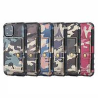 carteiras militares venda por atacado-Camuflagem à prova de choque tpu + estojo de couro carteira para iphone 11 2019 XR xs max x 8 7 6 samsung nota 10 pro militar foto id caixa de luxo capa