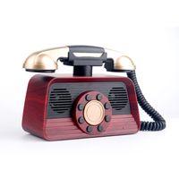 subwoofer para telemóvel venda por atacado-2019 16 W Retro Telefone Sem Fio Bluetooth Speaker Subwoofer de Rádio Portátil Suporte TF Cartão USB para PC Computador Telefones celulares
