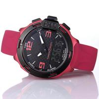 Wholesale analog watch compass for sale - T Race Touch T081 Screen Altimeter Compass Chrono Quartz Rubber Strap Deployment Clasp Purple Watch Wristwatches Mens Watches