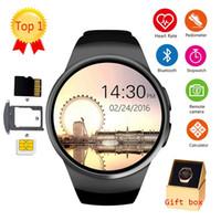 dişli telefonu toptan satış-Kw18 bluetooth smart watch tam ekran desteği sim tf kart smartwatch telefon apple dişli s2 huawei xiaomi için kalp hızı (perakende)