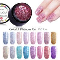 esmalte de uñas colores mezclados al por mayor-UR SUGAR 7ml Platinum Gel Polish Shining Gel holográfico Uñas Glitter Purple Pink Mixed Colors Soak Off Nail Art UV